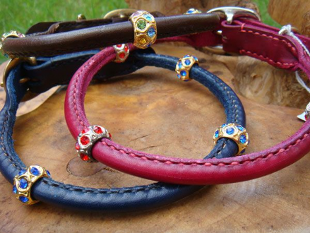 Hand-Made Rolled Leather Dog Collar with Crystals Beads